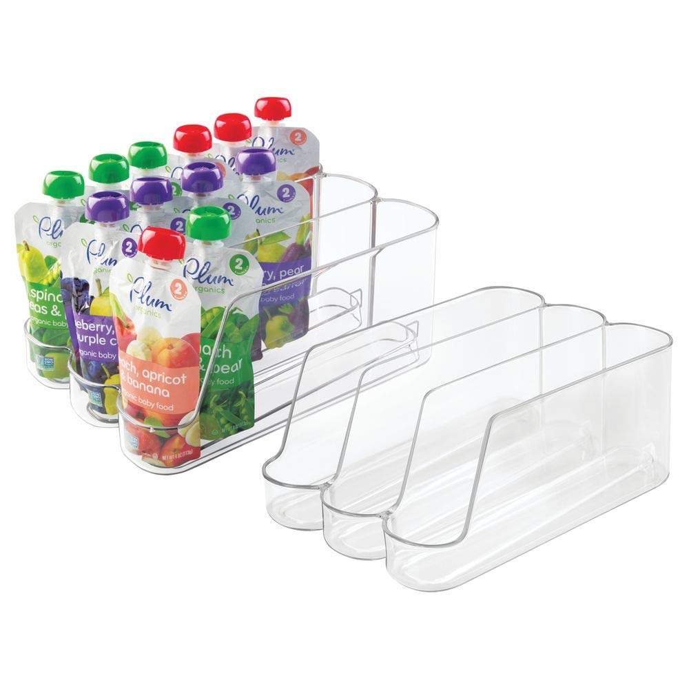 mDesign Plastic Dispenser Holder Bin Storage Organizer for organizing Infant Baby Food Bottle Juice Pouches Packets Containers Jars in Kitchen Cabinet Pantry, Nursery - Set of 2, Clear