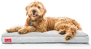 """Brindle Soft Shredded Memory Foam Dog Bed with Removable Washable Cover, 40"""" x 26"""", Stone"""