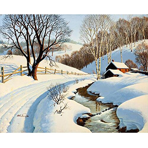 - Sttech1 Oil Diamond Embroidery Painting New Paintworks Paint By Number for Kids and Adults - Snow Scene in the Mountains (Winter)