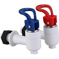 TOOGOO(R) Llave grifo de maquina dispensador de agua de plastico 2pzs Rojo Azul Blanco