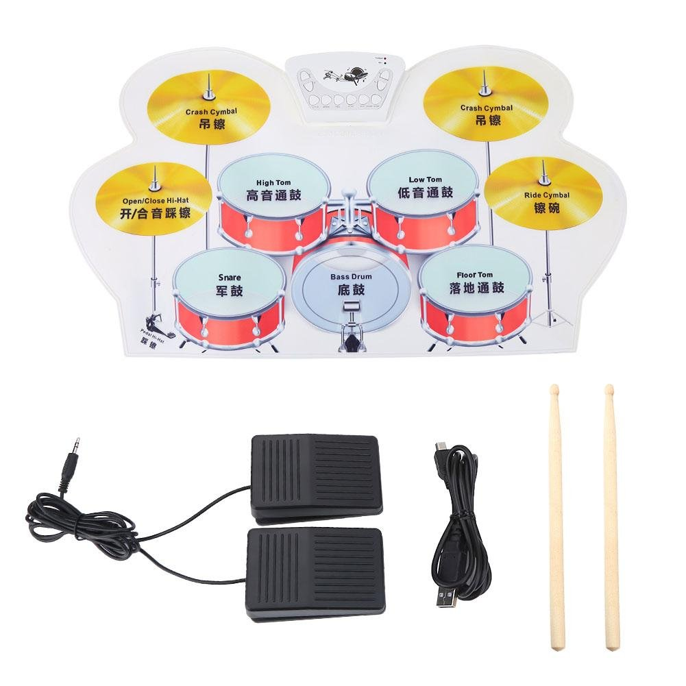 Electronic Drum, Mini Portable Roll-up Electronic Digital Jazz Drum with Built in Speakers, Foot Pedals, Drumsticks, and Power Supply Kids Instruments Toy Great Holiday Birthday Gift for Kids