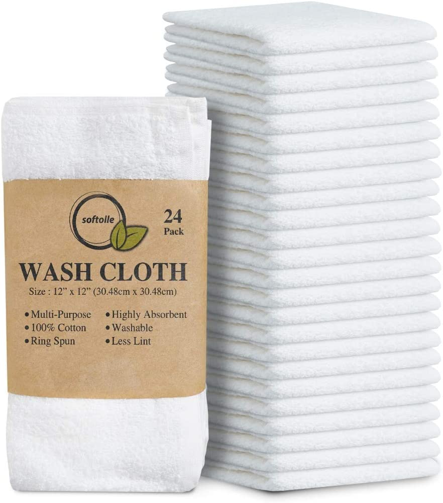 Softolle 100% Cotton Ring Spun Wash Cloths – Bulk Pack of 24 Pieces Washcloths – 12x12 Inches – Wash Cloth for Face, Highly Absorbent, Soft and Face Towels: Home & Kitchen