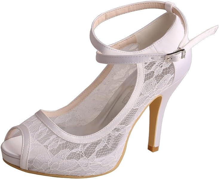 f7a8eeb660bc Wedopus WD7008 Women Peep Toe High Heel Platform Ankle Straps Lace Wedding  Shoes Bridal Size 4