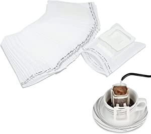 100 Pack Portable Single Serve Food Grade Disposable Hanging Ear Drip Filter Bag, Coffee Filter Bag Perfect for Travel, Camping, Home, Office