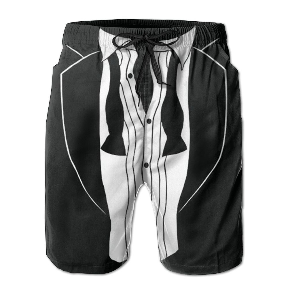 QWSJDG Tuxedo Men Shorts Elastic Soft Quick-Drying Beach Shorts Beach Pants