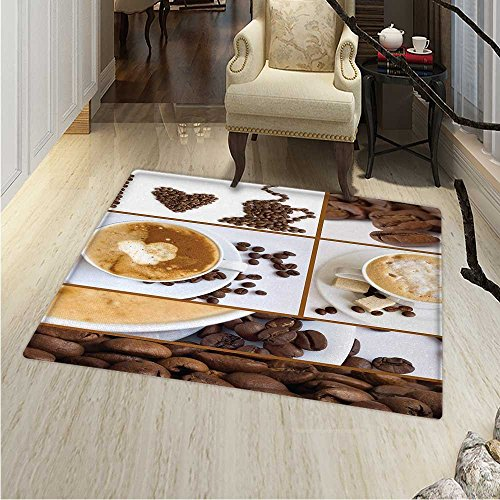 Photo Coffee Any Mug Collage - Kitchen Print Area rug Coffee Themed Collage of Beans Mugs Hot Foamy Drink with a Heart Macro Aroma Photo Perfect for any Room, Floor Carpet 48