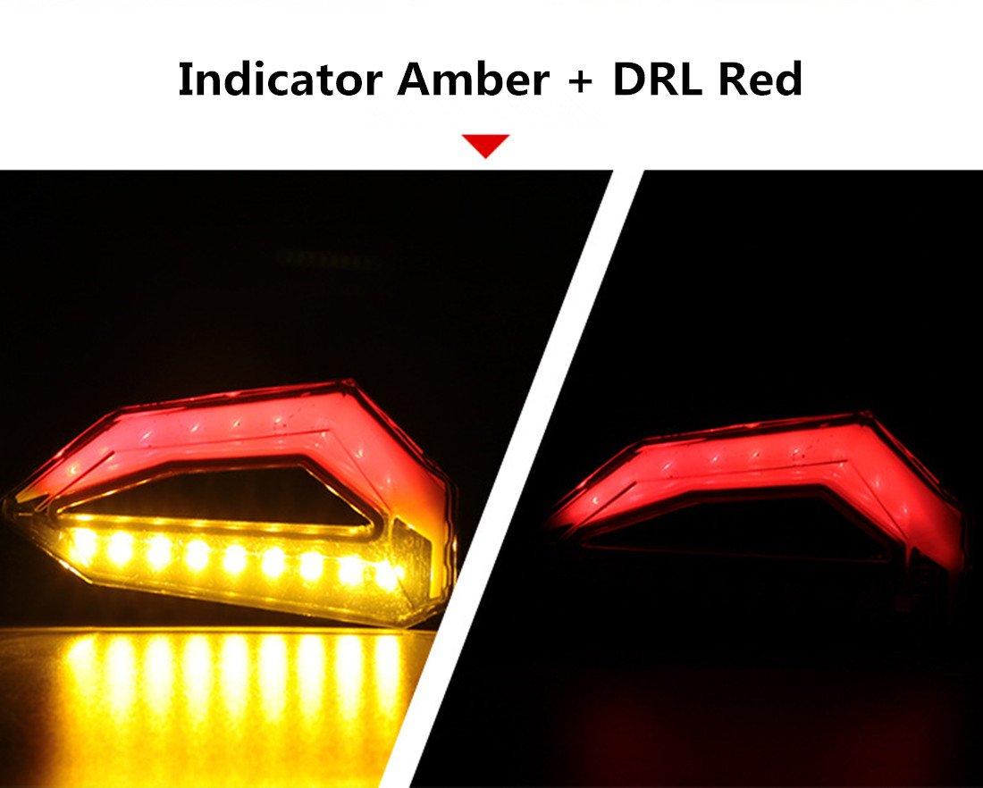 Bernstein Rot Packung mit 2 FEZZ LED Blinker Motorrad e Gepr/üft mit Bremslicht Motorrad E Roller Blinker