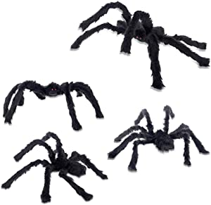 MYH DECO Halloween Spider Decorations, Halloween Scary Giant Spider 1 Large Fake Spider Cobwebs for Window Wall and Yard Outdoor Halloween Decor