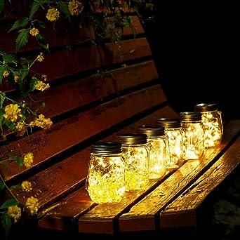 Solar Mason Jar Lámpara Mason Jar Luz Solar Con Tapa Insertar Para Decoración de Jardín y Home Deco Light. (Blanco Cálido 4 Paquetes): Amazon.es: Iluminación