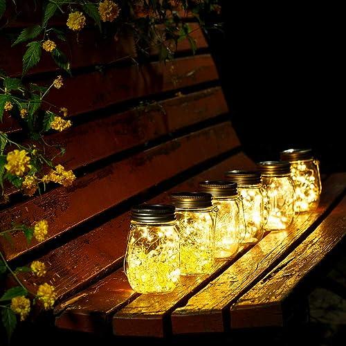 Solar Garden Lights Mason Jars with Lids Insert Outdoor Indoor Lighting Decoration (4 Pack, Warm White)