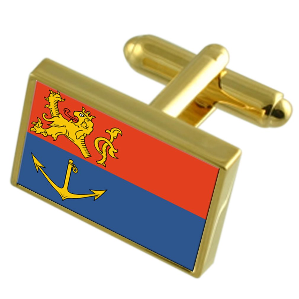 Venlo City Netherlands Gold-tone Flag Cufflinks