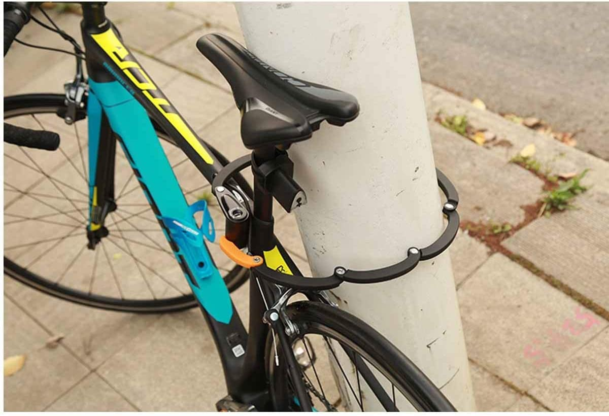 Color : Black Black Anti-Breaking Folding Lock Safe and Reliable, HUIJUNWENTI Bicycle Lock with Taillight Anti-Theft Lock