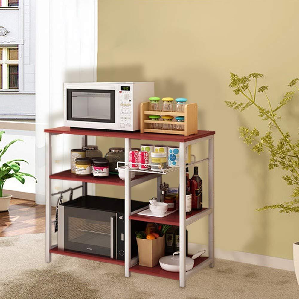 Multifunctional Kitchen Rack Shelf Spice Rack Microwave Oven Floor Shelf Storage Cupboard Organizer Workstation 3-Tier (Khaki)