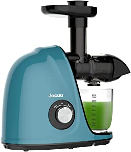 Jocuu Juicer, Slow Masticating Juicer Machine Easy to Clean, Cold Press Juicer Extractor with Soft/Hard Two-Speed, Quiet Motor, Reverse Function Anti-Clogging, with Brush & Recipes, for Healthy Juice