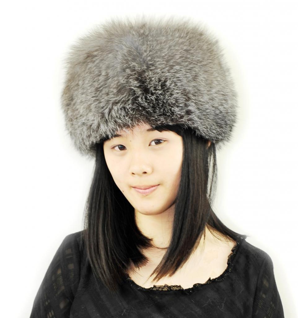 CX FUR Women Fur Hat Genuine Silver Fox Fur Hat,Grey