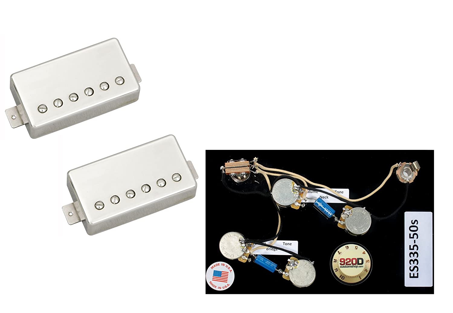 Duncan Pearly Gates Humbucker Pickup Set Nickel Es335 Sg Wiring Capacitor And 50 S Harness Long Musical Instruments