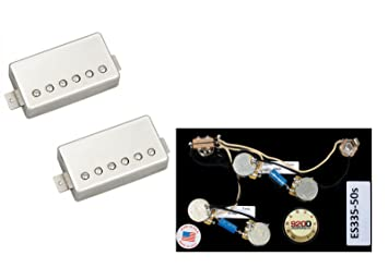 amazon com duncan pearly gates humbucker pickup set nickel es335 duncan pearly gates humbucker pickup set nickel es335 50 wiring harness long
