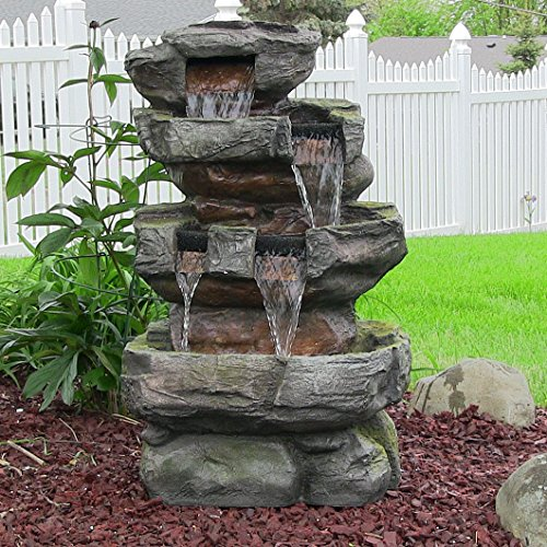 Sunnydaze Outdoor Tiered Stone Waterfall Garden Fountain with LED Lights, 24 Inch Tall by Sunnydaze Decor