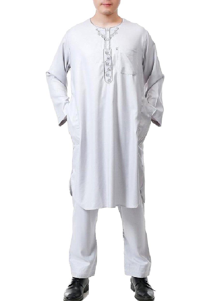 Tootless Men 2-Piece Middle East Cotton Linen Blend Muslim Shalwar Kemeez Light Grey 58