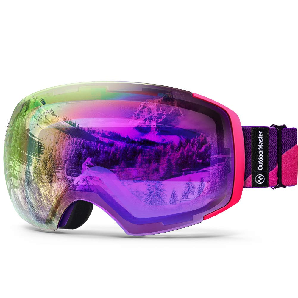 OutdoorMaster Ski Goggles PRO - Frameless, Interchangeable Lens 100% UV400 Protection Snow Goggles for Men & Women (Pink-Purple Frame VLT 45% Fuchsia Lens and Free Protective Case) by OutdoorMaster