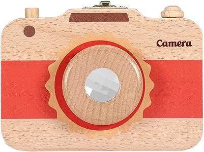 Grey Wooden Milk Teeth Storage Box Cute Camera-pattern First Haircut Keepsake Teeth Save Case for Boys and Girls
