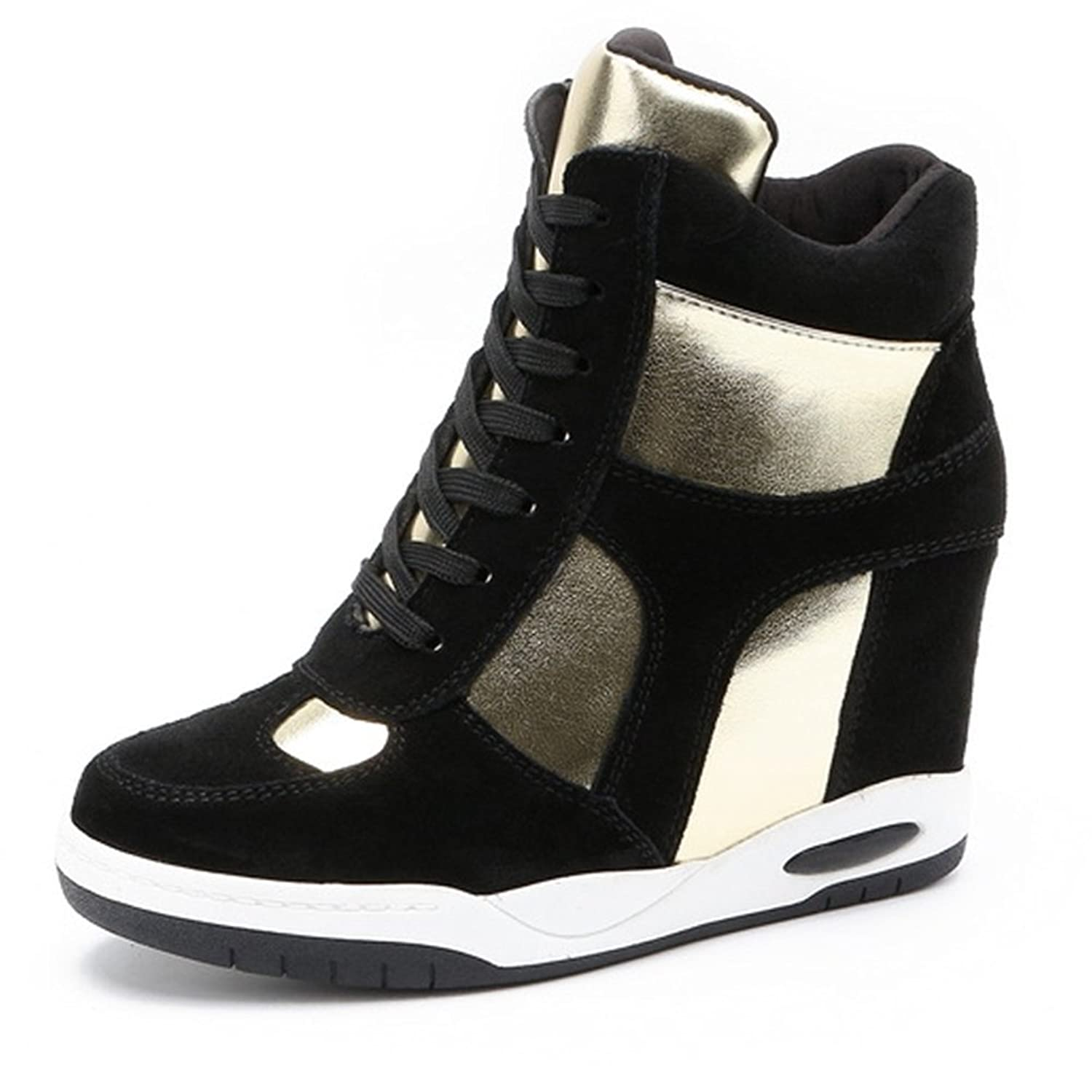 High Top Wedge Sneakers for Women's - Anti-slip Rubber Sole Hidden Heel Round Toe Platform Casual Shoes new