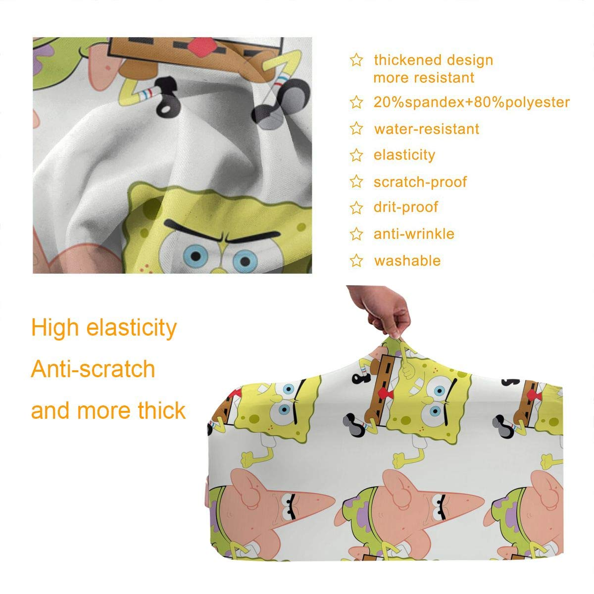 Sponge-bob Cartoon Patrick Star Design Travel Suitcase Protector Anti-scratch Washable Dust Thicken Elasticity Cover Travel Luggage Cover