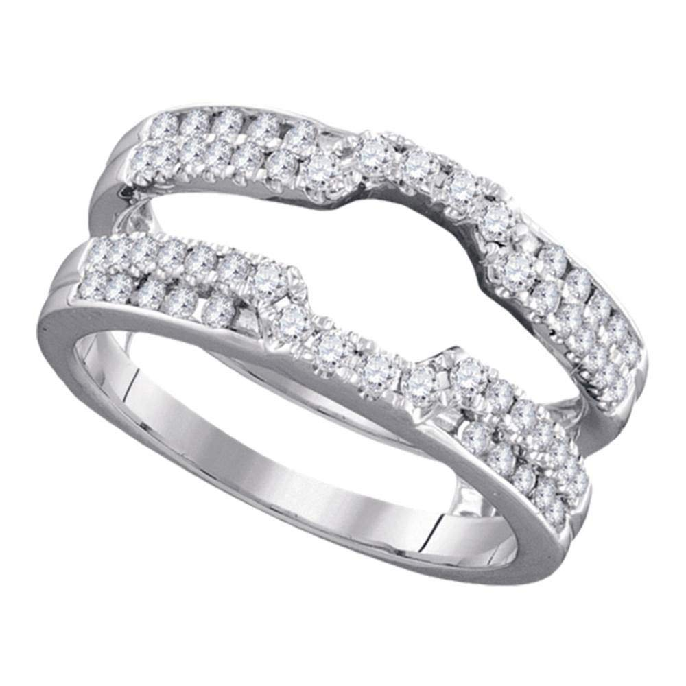 Jewels By Lux 14kt White Gold Womens Round Diamond Wrap Ring Guard Enhancer Wedding Band 1/2 Cttw In Prong Setting (I1-I2 clarity; H-I color) Ring Size 7 by Jewels By Lux