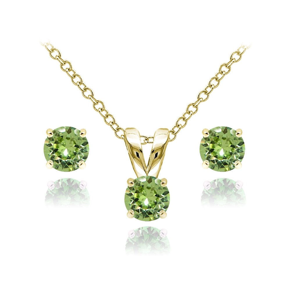 Yellow Gold Flashed Sterling Silver Solitaire Light Green Necklace and Stud Earrings Set created with Swarovski Crystals