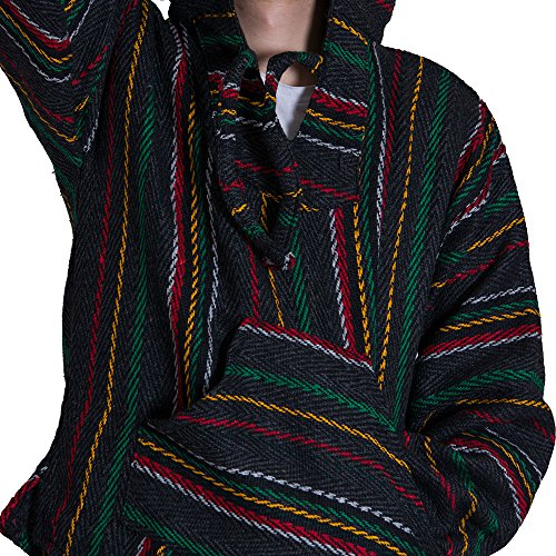 Orizaba Original Baja Drug Rug - Thin Stripe Rasta Zigzag - Half Moon Bay M - Polyester Stripes Rug