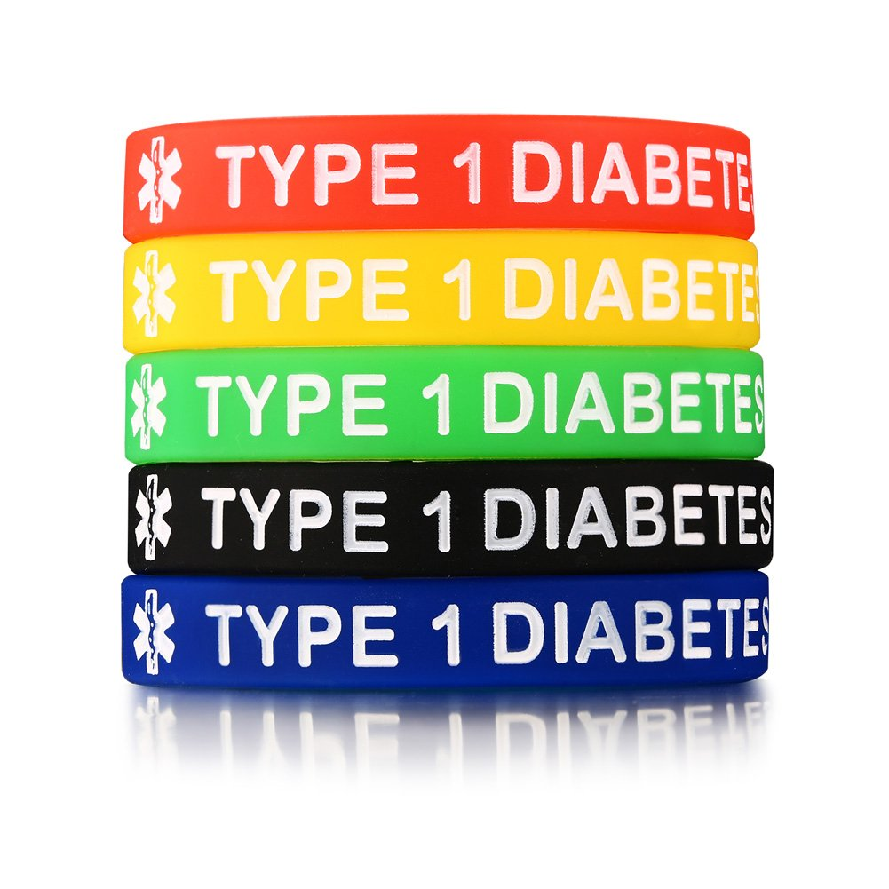 Mealguet Jewelry 5 Pack Assorted Colors Medical Alert ID Type 1 Diabetes Insulin Dependent Silicone Bracelets Wristband,7.5''