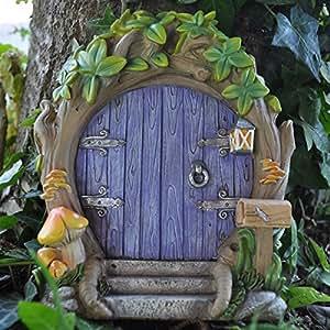 Jardín de hadas UK morado hada del bosque puerta grande