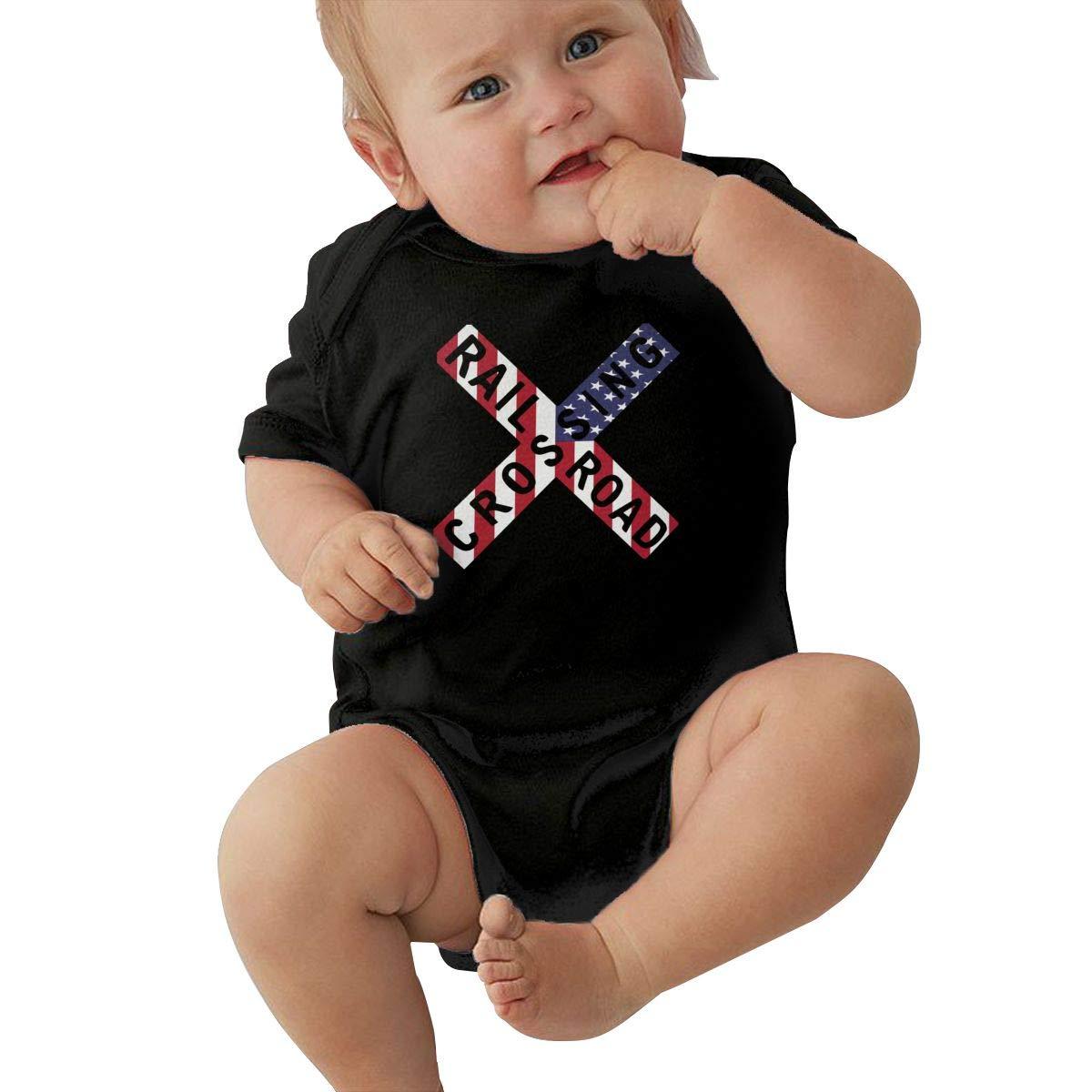 Toddler Baby Girl Boy Railroad Crossing Sign USA Flag Romper Romper Jumpsuit Short Sleeve Bodysuit Tops Clothes
