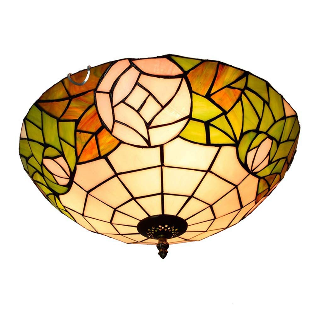 16インチ天井ランプ、ティファニースタイルステンドグラス/ローズデザインシーリングライト、リビングルームベッドルームバルコニーヨーロッパ   B07TQDB3TP
