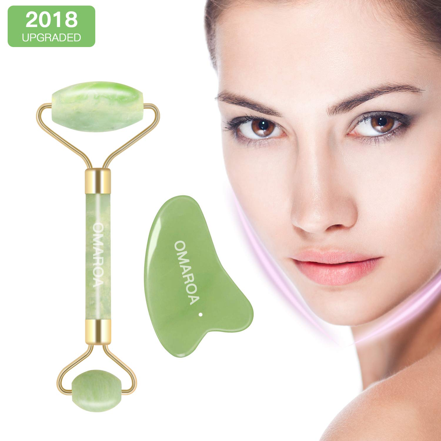 Jade Roller for the Face with Massager and Anti-Aging, Jade Roller for Face Real Jade 100% Jade, Suitable for Face Body and Eyes Treatment. OMAROA