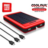 COOLNUT High Performance Solar 13000 mAh Power Bank For All Smartphones (Red, Black)