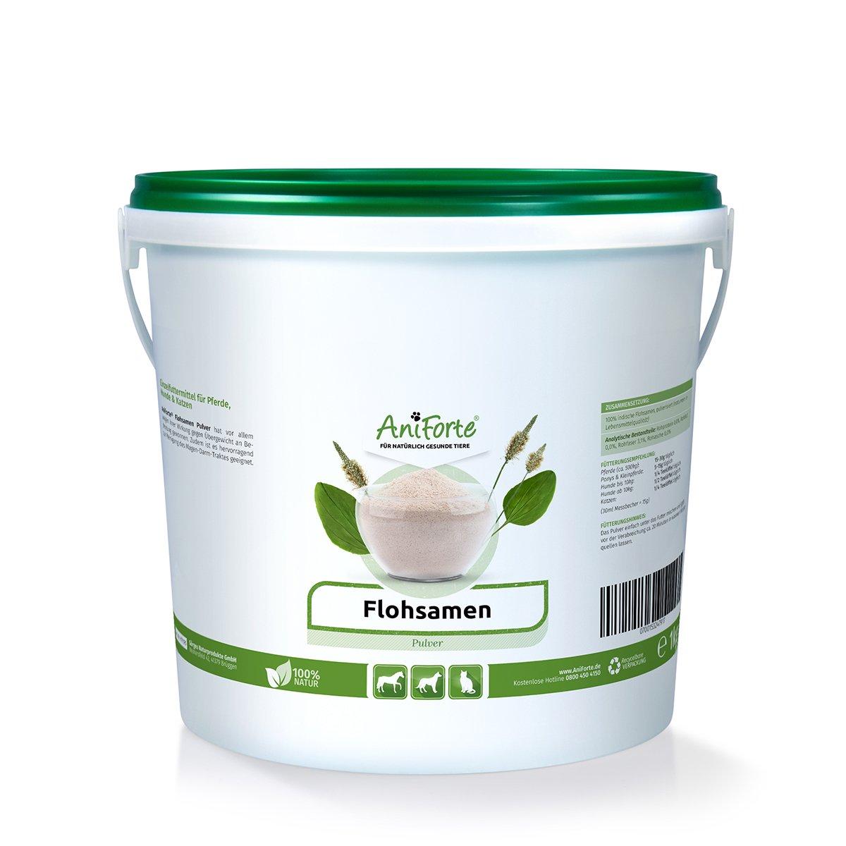 AniForte Poudre de Indien Psyllium 1 kg, Riche en fibres douce, Pour Chiens, Chats, Chevaux & Animaux de Compagnie Görges Naturprodukte GmbH