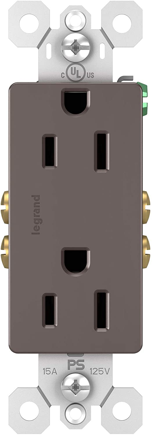 Legrand - Pass & Seymour radiant 15 Amp Decorator Receptacle Tamper Resistant Outlet, Brown, 885TRCC8