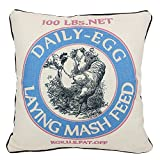 JuniperLab Vintage Chicken Retro Primitives French Country Cotton Burlap Throw Pillow Cases Farmhouse Rustic Cushion Cover Rooster Daily Egg Feed Sacks Bule 16'' Square