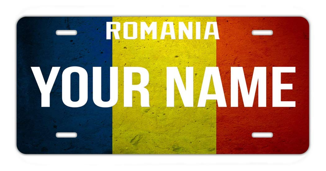 BRGiftShop Personalize Your Own License Romania Flag Country Plate Car Vehicle 6x12 Tag