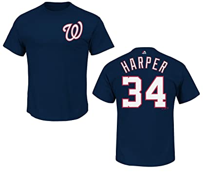 pretty nice f43ae b9b82 Bryce Harper Washington Nationals Navy Jersey Name and Number T-Shirt
