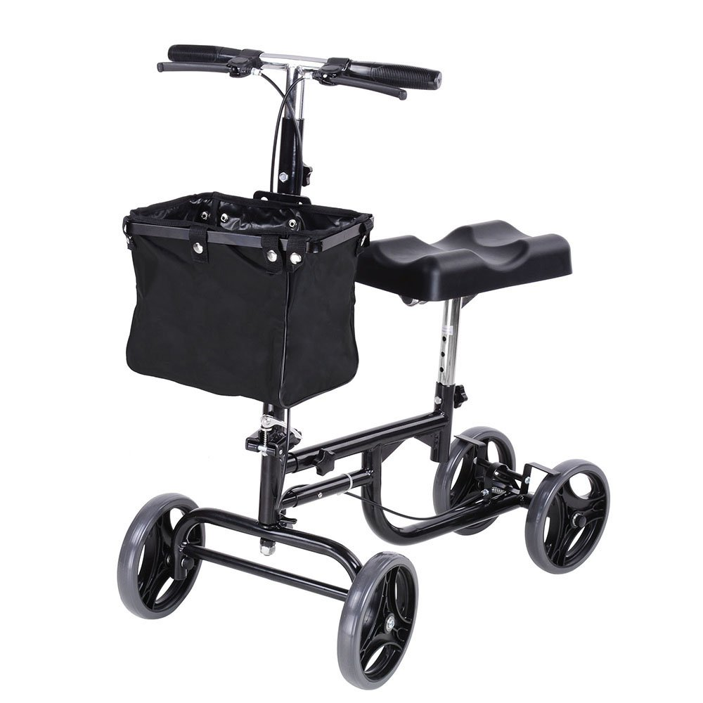 AW Adjustable Knee Scooter Walker w/Basket Steerable Rolling Wheel Weight Capacity 295 lbs by AW