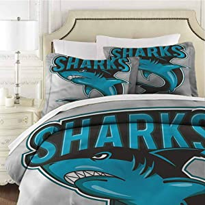 "Mannwarehouse Shark Bedspread Coverlet SetAngry Danger Fish Fins Cover 3 Piece Set (1 Duvet Cover,2 Pillow Shams) Solid Soft and Breathable - King 104""x90"""