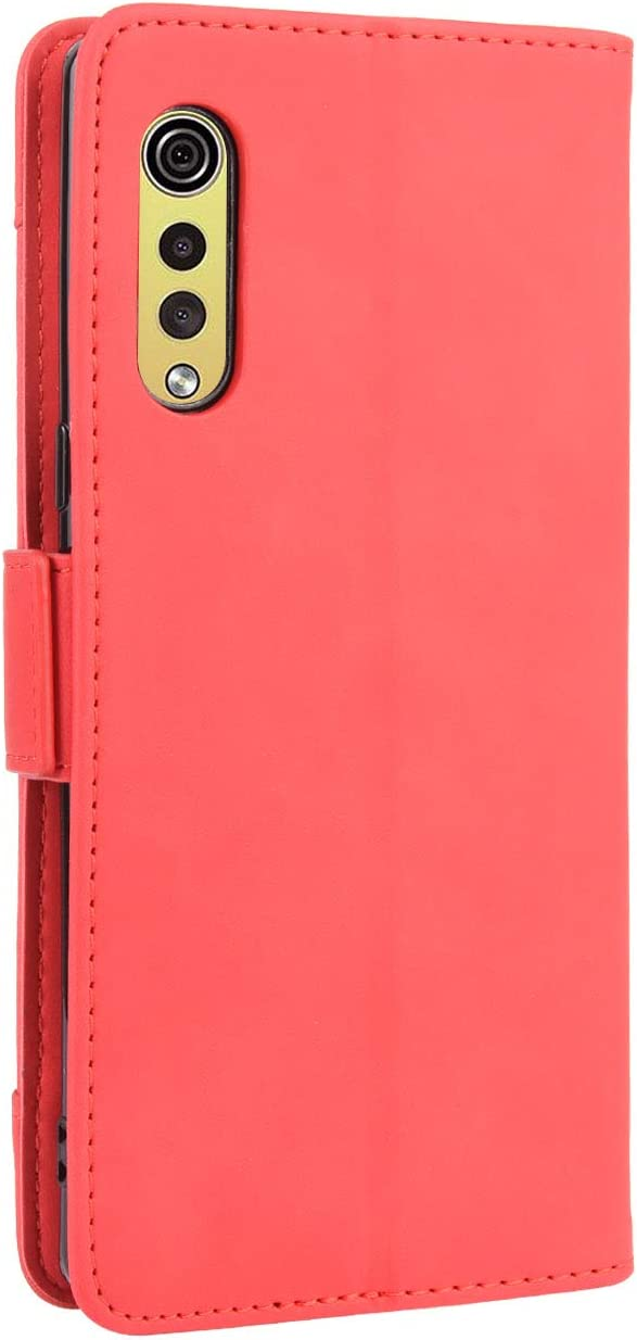 LG Velvet Wallet Case LG Velvet, Red Card Slots Magnetic Closure Kickstand Shockproof PU Leather Flip Case for LG Velvet
