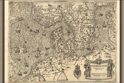 Poster Map Of Northern Europe, 1558 Denmark Holland Antique Reprint