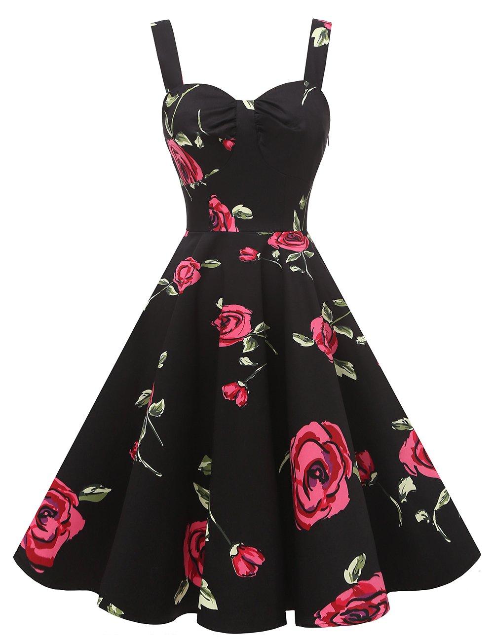 DRESSTELLS 1950s Retro Audrey Swing Pinup Rockabilly Dress Pleated Vintage Dress RedFlower L