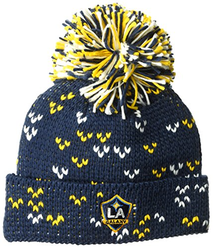 adidas MLS Los Angeles Galaxy Women's Fan Wear Cuffed Pom Knit Beanie, One Size, Black