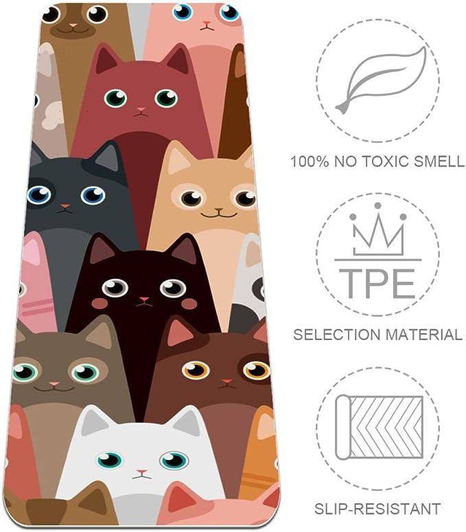 DJROWW Esterilla de Yoga con diseño de Gatos y Dibujos Animados ...