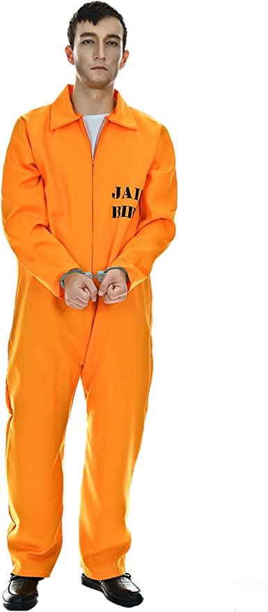 PRISONER OVERALLS CONVICT COSTUME FANCY DRESS ADULTS OUTFIT WITH HANDCUFF UNISEX