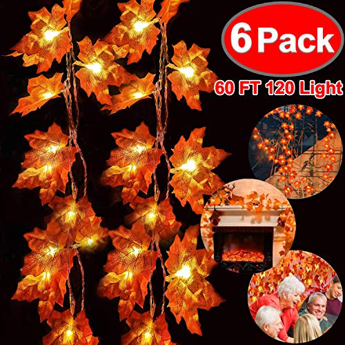 6 Pack Fall Garland with Lights Thanksgiving Decor Total 60FT & 120 Lights Maple Leaves String Lights Thanksgiving Halloween Garland Waterproof 3AA Battery Powered for Thanksgiving Fireplace Outdoor D